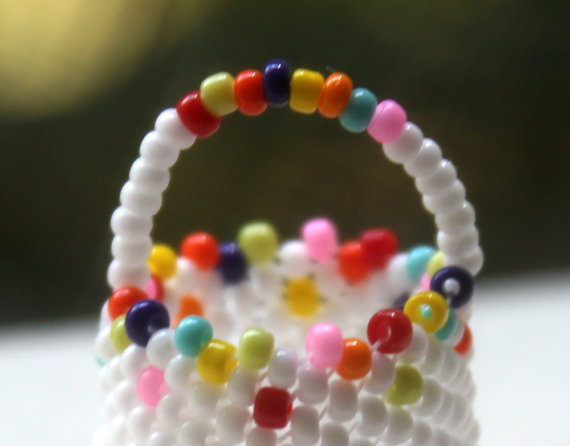 Miniature Beaded Basket White Multicolor